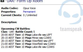 TS3 - World of Tanks Clan Wars Upcoming Battles List